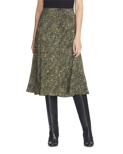 Neyla Sophisticated Snake-Print Silk Skirt