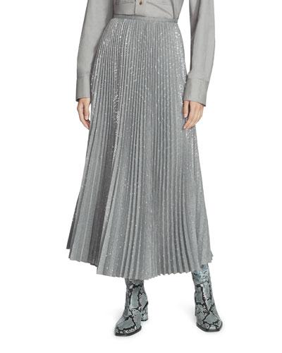 Jahira Prosperous Pleated Sequin Midi Skirt