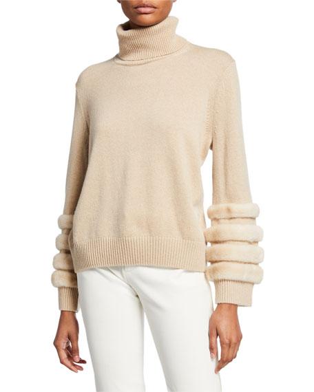 Lafayette 148 New York Cashmere Turtleneck Sweater with Mink