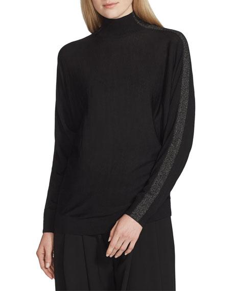 Lafayette 148 New York Fine-Gauge Merino Wool Turtleneck Dolman Sweater with Metallic Detail