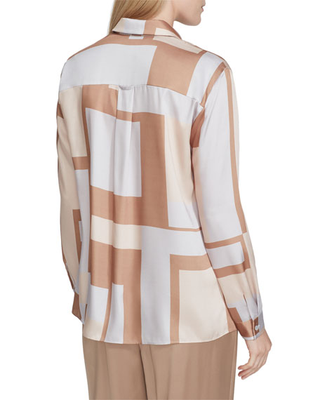 Lafayette 148 New York Zora Graphic Block Long-Sleeve Twill Blouse