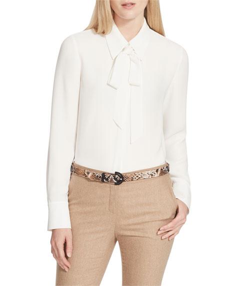 Lafayette 148 New York Diana Tie-Neck Silk Double Georgette Blouse