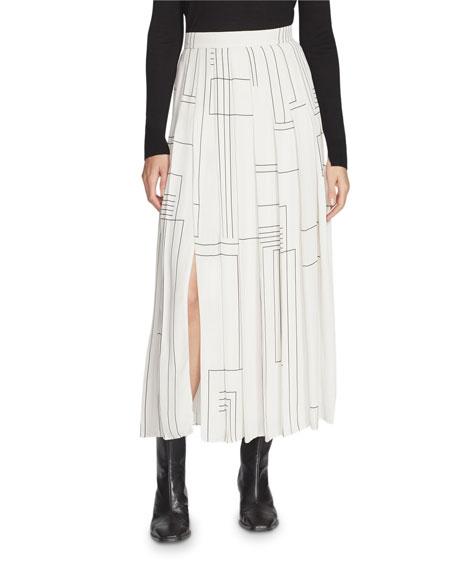 Lafayette 148 New York Eleanor Linking Lines Drape Cloth Pleated Midi Skirt