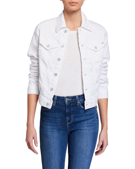 Image 1 of 4: AG Adriano Goldschmied Robyn Button-Front Denim Jacket, True White