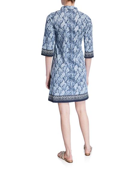 Bella Tu Vanessa Python-Print 3/4-Sleeve Shirtdress