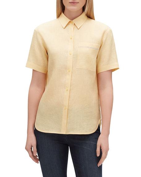 Lafayette 148 New York Sublime Justice Button-Front Short-Sleeve Linen Blouse