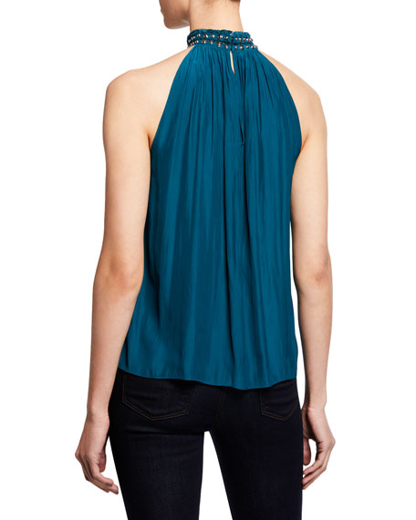 Ramy Brook Cara Embellished Mock-Neck Halter Top