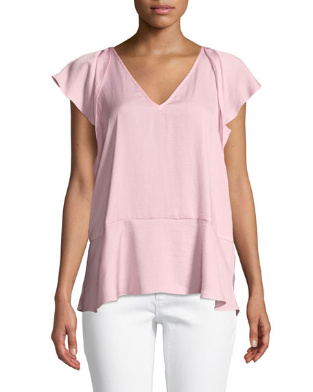 MICHAEL Michael Kors V-Neck Flutter-Sleeve Top