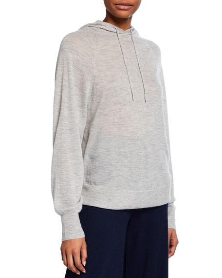 Vince Boxy Wool-Cashmere Hooded Pullover Sweater