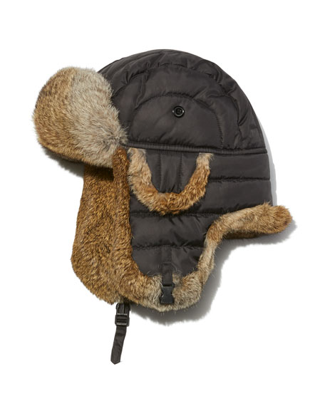 Crown Cap Quilted Nylon Aviator Hat with Rabbit Fur