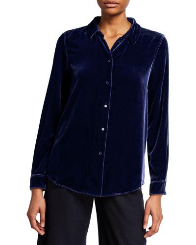 Velvet Button-Front Long-Sleeve Shirt
