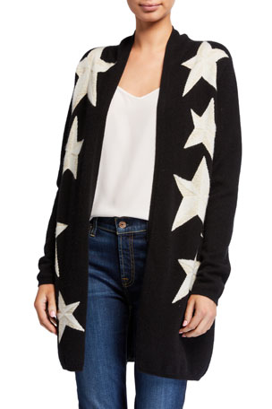 Neiman Marcus Cashmere Collection Cashmere Metallic Star Intarsia Open Cardigan