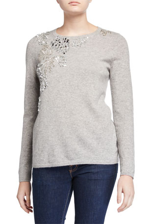 Neiman Marcus Cashmere Collection Cashmere Embellished Long-Sleeve Crewneck Sweater
