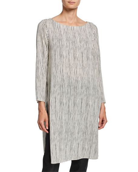 Eileen Fisher Linear Stripe Ballet-Neck Silk Crepe Tunic