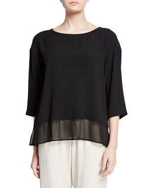 aac5d0e7 Eileen Fisher Plus Size Bateau-Neck Silk Georgette Top