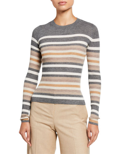 Regal Cashmere Striped Crewneck Sweater