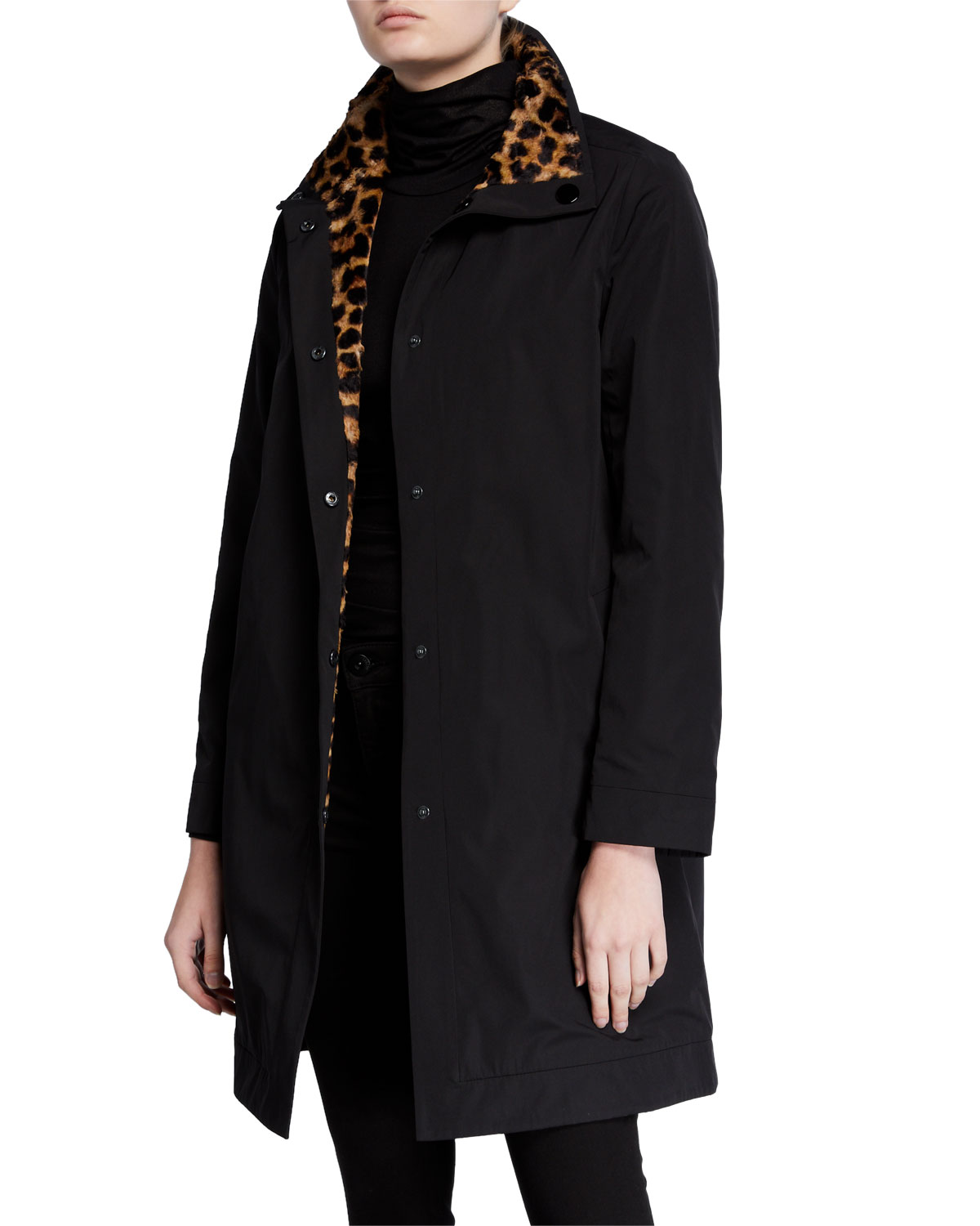 Jane Post Reversible Rain Coat w/ Leopard Print
