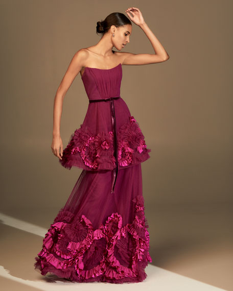 Marchesa Notte Strapless Mixed Media Textured Tiered Gown w/ Corseted Bodice
