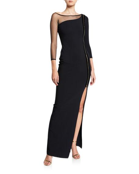 Chiara Boni La Petite Robe Asymmetric Zip-Front 3/4-Sleeve Gown with Mesh Inset
