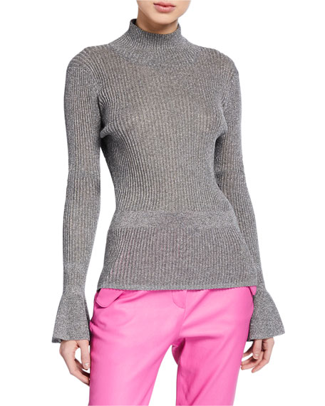 Veronica Beard Lilia Metallic Turtleneck Pullover Sweater