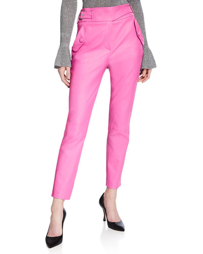 Jania High-Rise Leather Ankle Pants