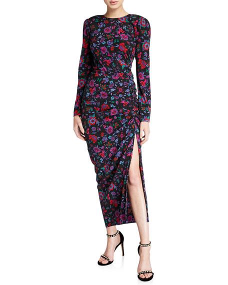 Veronica Beard Selena Long-Sleeve Floral Ruched Dress