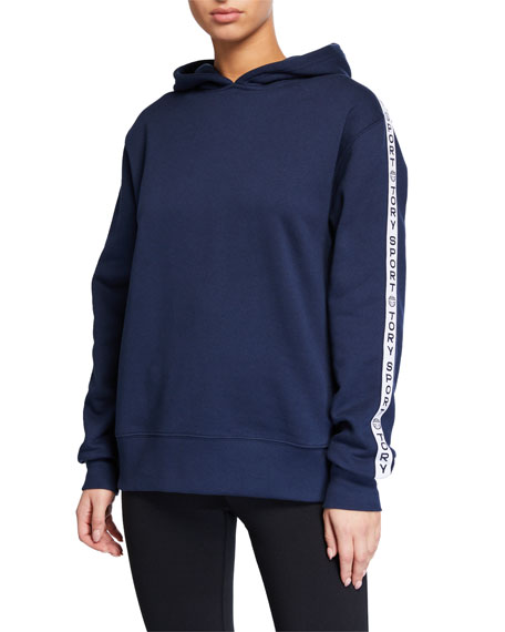 Tory Sport French Terry Oversized Logo Banner Hoodie
