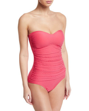 a3f3d4062c Plus Size Moto Ruched Lace-Up Bandeau Swim Dress. $172NOW $86 · Profile by  Gottex Ribbons Bandeau One-Piece Swimsuit