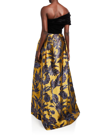 Image 3 of 3: Theia Couture One-Shoulder Velvet Bodice & Silk Lame Jacquard Skirt Gown