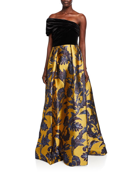Theia Couture One-Shoulder Velvet Bodice & Silk Lame Jacquard Skirt Gown