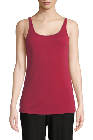 Eileen Fisher Petite Scoop-Neck Stretch Silk Jersey Cami