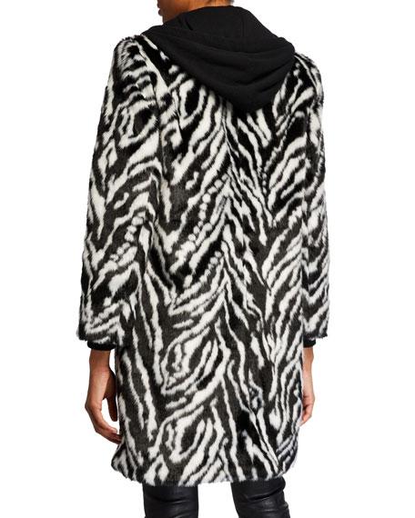 Alice + Olivia Kylie Zebra-Print Faux-Fur Coat w/ Removable Hood