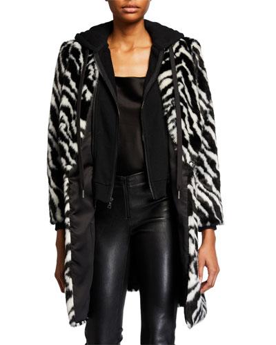 Kylie Zebra-Print Faux-Fur Coat w/ Removable Hood