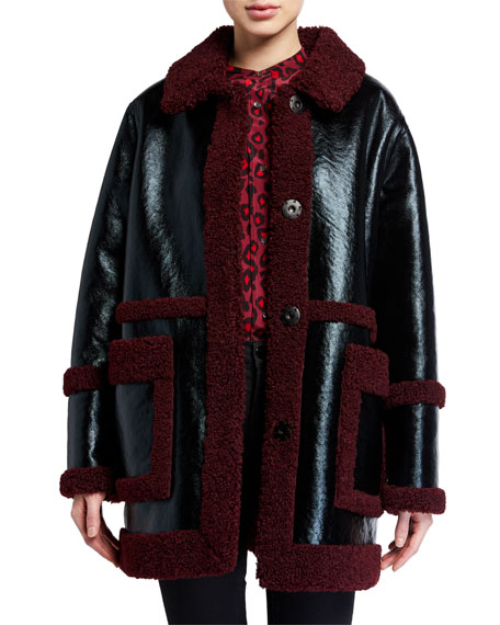 Image 2 of 3: STAND Haley Faux Shearling-Trim Jacket
