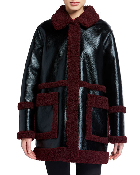 Image 1 of 3: STAND Haley Faux Shearling-Trim Jacket
