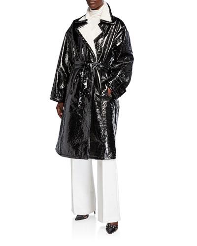 Erica Patent Coat w/ Faux Fur Trim
