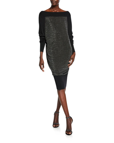 Chiara Boni La Petite Robe Long-Sleeve Metallic Blouson Dress