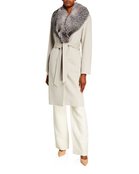 Sofia Cashmere Fur Shawl-Collar Long Wrap Coat