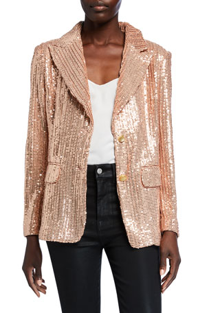 Berek Petite Sequin Two-Button Blazer