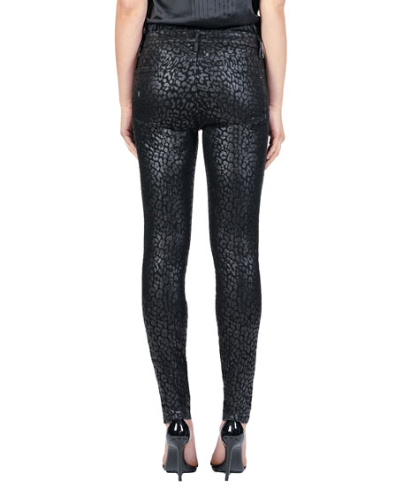Black Orchid Gisele High-Rise Super Skinny with Leopard Foil
