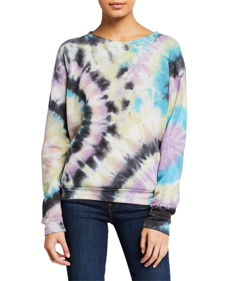 Mother T-shirts The Hugger Tie-Dye Raglan Sweatshirt