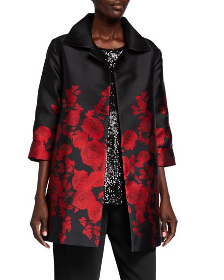 Caroline Rose Plus Size Red Carpet Rose Jacquard Party Jacket