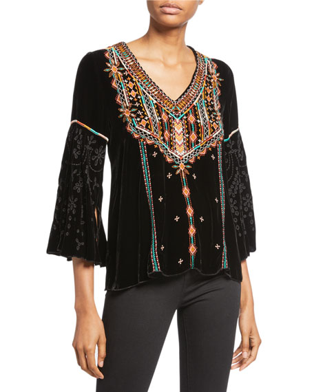 Johnny Was Plus Size Chiri Embroidered Velvet Swing Blouse