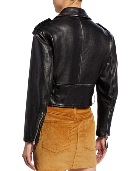 Image 2 of 3: 80s Cropped Leather Moto Jacket