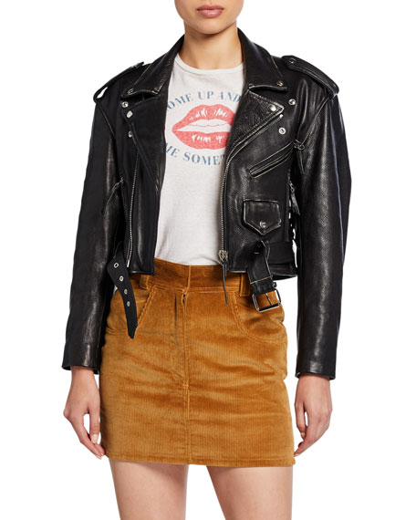 Image 1 of 3: 80s Cropped Leather Moto Jacket