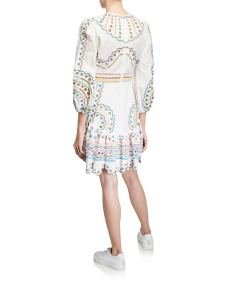 Zimmermann Peggy Short Embroidered Linen Dress