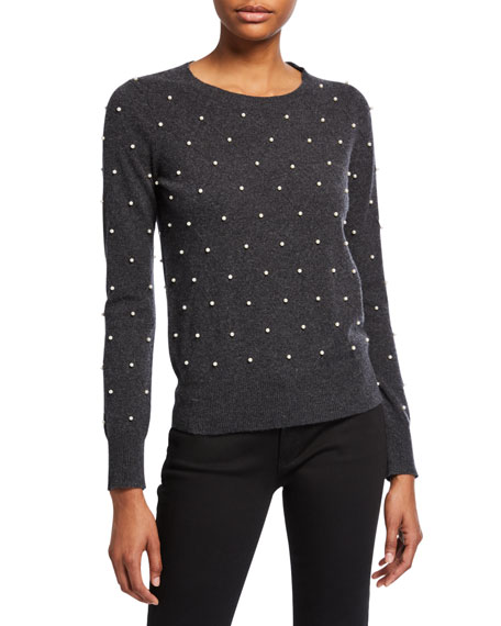 Neiman Marcus Cashmere Collection Pearl Embellished Long-Sleeve Crewneck Sweater