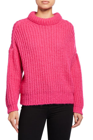 ba&sh Emma Mock-Neck Alpaca Sweater