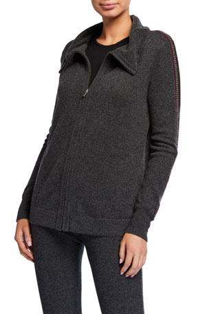 Neiman Marcus Cashmere Collection Cashmere Embroidered Stripe Zip-Up Jacket
