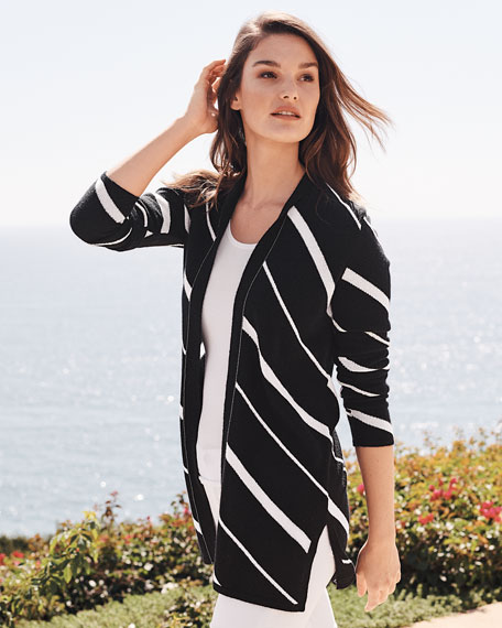 Image 2 of 3: Neiman Marcus Cashmere Collection Diagonal Striped Cashmere Cardigan w/ Chain Trim